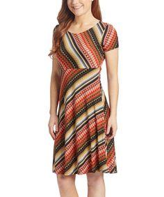 Look at this #zulilyfind! Red & Gold Geo-Stripe Empire-Waist Dress - Plus Too #zulilyfinds