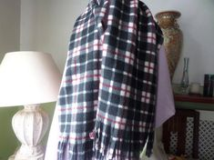 Short Scarves, Tartan Scarf, Stocking Fillers, Crochet Squares, Polar Fleece, Red Stripes, Shawls And Wraps, Womens Scarves, Hand Sewing