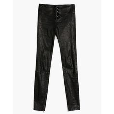 PAIGE Rosie Hw X Paige Collection Ellery Ankle Zip  Black Leather ($1,195) ❤ liked on Polyvore featuring pants, leather, multicolor, high-waist trousers, high waisted skinny trousers, high waisted pants, stretchy pants and colorful pants