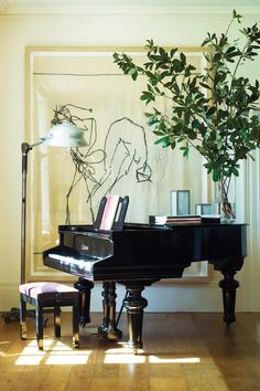 painting beyond piano.figures dancing on piano_VINTAGE LUXE Piano Living Rooms, My Living Room, Living Spaces, Attic Renovation, Attic Remodel, Grand Piano Room, Piano Room Decor, The Piano, Piano Art