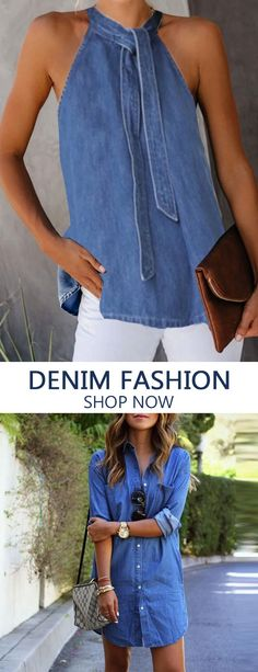 Denim Outfits Denim fashion clothes for women, fashion casual style and comfortable material you will love it, tops, jumpsuits and coats you can options. Denim Outfits, Mode Outfits, Casual Outfits, Comfortable Dress Shoes, Denim Fashion, Womens Fashion, Nail Fashion, Jumpsuit Pattern, Fashion Dresses