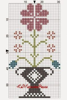 LaMatassinaRossa: flowers freebie ~~ 1 OF 2 Cross Stitch Freebies, Cross Stitch Bookmarks, Cross Stitch Samplers, Counted Cross Stitch Patterns, Cross Stitch Designs, Cross Stitching, Cross Stitch Embroidery, Cross Stitch Boards, Cross Stitch Heart