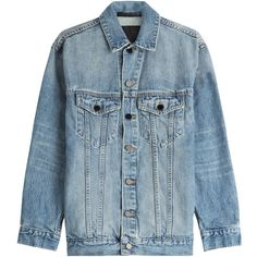 Denim x Alexander Wang Denim Jacket (32.535 RUB) ❤ liked on Polyvore featuring outerwear, jackets, blue, alexander wang, blue denim jacket, denim jacket, oversized jacket and blue jean jacket