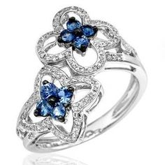 Vida Ring with 0.64ct TW Diamonds and Sapphires in 14K White Gold