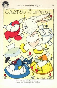 Easter bunny paper doll. He looks like he has places to go!