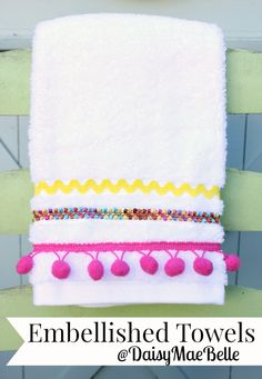Embellished Hand Towel from Squires Squires \\ DaisyMaeBelle Fabric Crafts, Sewing Crafts, Sewing Projects, Craft Projects, Diy And Crafts, Learn To Sew, Towel Set, Hand Towels, Tea Towels