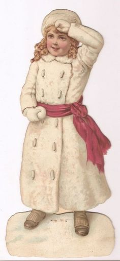 Fillette Boule de neige - - Grand Chromo Decoupi Cartonnée - Victorian Scrap