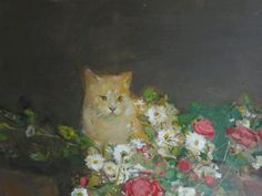 Ruskin Spear is a well-known portrait painter, people in pubs and cats populate his works. One of the cats must have been his own, Trixie. Using broad brush Royal College Of Art, Cat Art, British, Portrait, Flowers, Artwork, Painting, Board, Illustrations