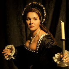 Anna Netrebko attired as Anne Boleyn, in Donizetti's 'Anna Bolena'.