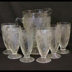 Iris Pattern Depression Glass Beverage Set, Jeannette Glass Company 1928-1932