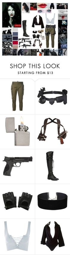 """Resident Evil OC: Emmeline Mary Styler"" by ghostastickitty ❤ liked on Polyvore featuring E.vil, GET LOST, American Eagle Outfitters, Dsquared2, CO, Zippo, Smith & Wesson, Joie, Hot Topic and Miss Selfridge"