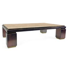 Vintage Rectangular Copper Coffee Table With Travertine Top And Black And  Brass Accents   France,