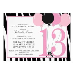 5x7 13th Birthday Party Invite for my 13th