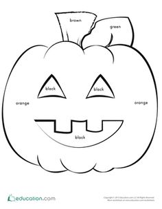 This Jack-o'-Lantern needs some more color! Can your kid color this pumpkin based on the word written in each shape? He'll get practice reading sight words, and create a spooky Halloween decoration, too! Seasons Worksheets, Sight Word Worksheets, Writing Worksheets, Spooky Halloween Decorations, Halloween Themes, Halloween Crafts, Kid Crafts, Fall Crafts, Preschool Readiness