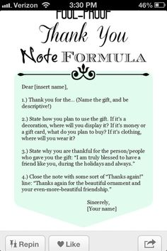 How to write a thank-you note - I know I had this pinned before but I cant find it.
