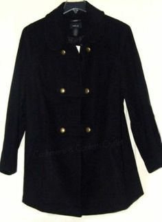 Style & Co NEW Double Breasted Military Peacoat Dress Coat Black SMALL