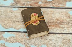 Vegan Leather Suede Journal tea stained mini diary pleather OOAK