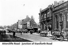 Attercliffe Road - Sheffield Savings Bank, Yorkshire Penny Bank Ltd., junction of Staniforth Road, Thos. Challoner, green grocer and other poroperties Penny Bank, Sources Of Iron, Industrial Development, Sheffield England, Savings Bank, Local History, Derbyshire, Old Pictures, Old And New