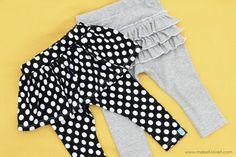 easy skirted & ruffle butt leggings
