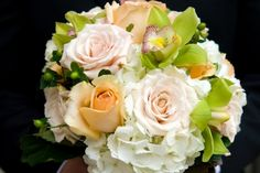 Aime Peterson Flowers and Event Design  #Peach #White #Cream #Hydrangea #Rose #Cymbidium Orchid #Hypericum #Berry #Handtied #Bouquet #Bride #Groom #Wedding #Flowers #Spring #Fall
