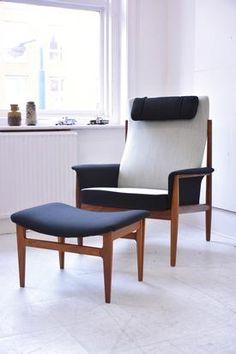 FINN JUHL teak armchair with ottoman