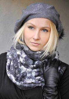 SET  Handmade Felted Hat Beret Cap and Scarf Collar  by ShellenD, $195.00
