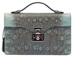 Gucci Lady Lock Briefcase Python Pastel Green And Gray Clutch. Get the trendiest Clutch of the season! The Gucci Lady Lock Briefcase Python Pastel Green And Gray Clutch is a top 10 member favorite