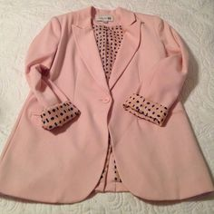 Forever 21 Baby Pink Blazer Pretty pink blazer with blue white and pink sleeve accents. Shoulder pads and fake pockets in front. Forever 21 Jackets & Coats Blazers