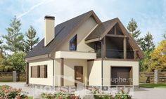 120-005-Л Проект двухэтажного дома мансардный этаж и гаражом, бюджетный домик из твинблока