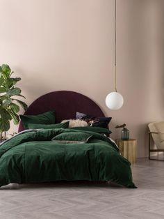 Deluxe Velvet Quilt Cover Set by Linen House Green Rooms, Bedroom Green, Room Ideas Bedroom, Home Bedroom, Bedroom Decor, Bedrooms, Master Bedroom, Green Comforter, King Comforter