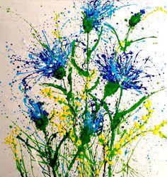 Cornflowers wild _ splash color_technique / acrylic on wood board 120x100cm