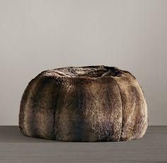 Grand Luxe Faux Fur Bean Bag - Sable