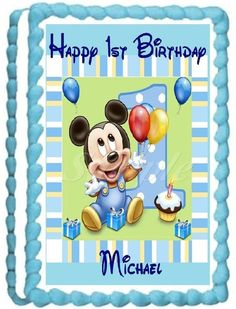 Baby Mickey 1st Birthday Edible Frosting Sheet Cake Topper - 1/4 Sheet Vertical >>> Tried it! Love it! : Baking decorations