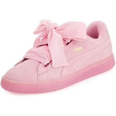 Puma Suede Heart Reset Sneaker (£62) ❤ liked on Polyvore featuring shoes, sneakers, pink, round toe lace up flats, suede lace up flats, suede flats, suede sneakers and pink sneakers