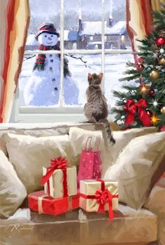Cat At Window by Art Licensing