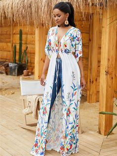 White Floral Print Tied Front Casual Maxi Cover Up @ Cover Up-Beach Cover UpsBathing Suit Cover UpsSwimsuit Cover UpsSwim Cover UpsSwimwear Cover UpsBeachwear Cover UpsCover Up DressBikini Cover UpsSexy Beach Cover Ups Source by Swimwear Cover Ups, Bikini Cover Up, Swimsuit Cover Ups, Swim Cover, Look Boho Chic, Bohemian Style, Mode Kimono, Long Sleeve Maxi, Dress With Cardigan