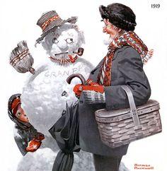 Norman Rockwell snowman illustration