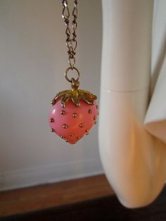 Strawberry Pendant Necklace by BuriedBone on Etsy, $25.00