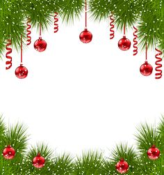 Christmas Transparent PNG Frame with Red Ornaments