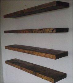 Reclaimed Barn Wood, Oak Floating Shelf