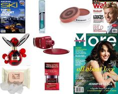 2 DAYS WORTH OF FREEBIES: Ski Magazine (not one shown), Watch Magazine (not one shown), More Magazine (not one shown), a 1.7 oz Marc Jacobs Dot eau de parfume (from the Allure Mag giveaway), another Zoya nail polish (in Blaze), 5 samples of L'Oreal Revitalift Triple Power Moisturizer, a 25 count pkg of Aveeno ultra calming makeup removing wipes, a full size Korres Cheek Butter in Philia Rose, and a full size Wet 'n Wild Mega eyeliner in turquoise.
