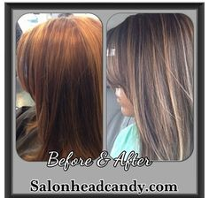 Color correction before & after. Red with caramel highlights to soft light brown with blonde highlights. So soft pretty & subtle. Perfect for summer hair!