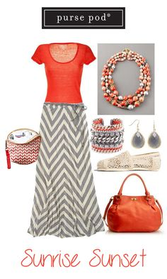 Fun, flowing chevrons and bright orange make this a flirty summer outfit. Complete it with the Sunrise Sunset Purse Pod. #PursePod #Chevrons #OrangeAndGrey