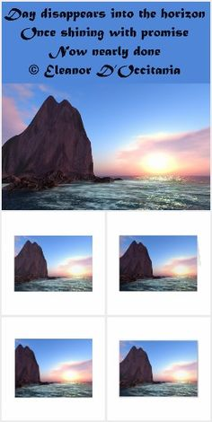 Day Recedes Collection on Zazzle!  Bring the day to a thoughtful close as you contemplate this original art and poetry.  Poem reads: Day disappears into the horizon Once shining with promise Now nearly done © Eleanor D'Occitania