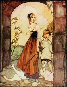 """16.  The Head Answered, """"Alas! Young Queen How Ill You Fare.""""  ---    Rie Cramer Illustrations: Grimm's Fairy Tales."""