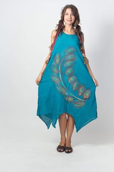 Terquize  Gorgeous hand painted Dress with Liner (DR188) / One of a kind / Summer Dress / Hand Painted Tie Dye / Boho / Hippie by NaniFashion on Etsy https://www.etsy.com/listing/189579690/terquize-gorgeous-hand-painted-dress