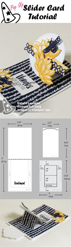 Pop up slider tutorial by Natalie Lapakko with Remarkable You stamps and Detailed Dragonfly Thinlits from Stampin' Up!
