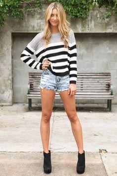 Striped sweater/jean shorts