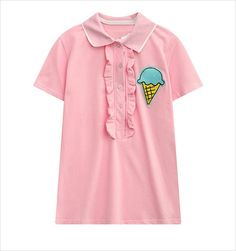 Pink Polo shirt womens tops fashion women's short sleeve Polo shirt embroidery ice cream casual shirts cotton tee tops shirts
