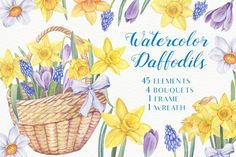 Watercolor Daffodils example image 1 Vector Design, Graphic Design, Scrapbook Blog, Blue Fairy, Watercolor Design, Creative Sketches, Paint Markers, Graphic Illustration, Illustrations